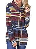Aleumdr - Sudadera para mujer, diseño de rayas S-XL morado L