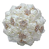 QinWenYan Bouquet de Mariée 15 CM Fleur Fille Tenant Perle Fleur Bouquet créative Main mariée Demoiselle d'honneur Bouquet de Mariage Paniers de Fleurs (Color : White, Size : 23cm x 15cm)