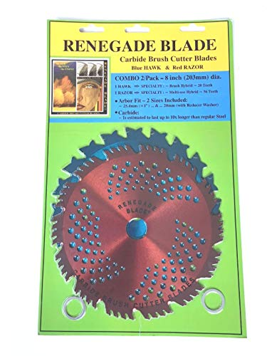 """2pk--8""""--20t/56t Combo Pack -- (1) 20 Teeth Blue Hawk (1) 56 Teeth red Razor -- """"Hybrid"""" Pack -- RENEGADE BLADE - GS1 Barcoded Shelf Hanging Blister Pack-- Carbide Brush Cutter Blades, 203mm Dia."""