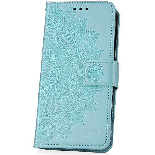 JAWSEU Compatible avec Note 7 Coque Portefeuille PU Étui Cuir à Rabat Magnétique Luxe Mode Retro 3D Totem Fleur Motif Ultra Mince Stand Leather PU Flip Wallet Case,Vert