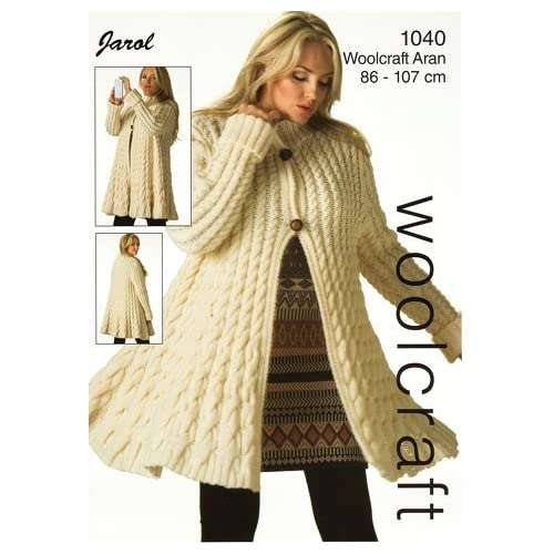 e8d4e9fe3 1040 Knitting Pattern for Ladies Aran Jarol Wool Long 2 Button Cardigan