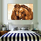 Dos Caballos en el Amor Animal Art Painting Gold Canvas Art Poster for Living Room Canvas Painting Wall Art,Pintura sin Marco,75x107cm