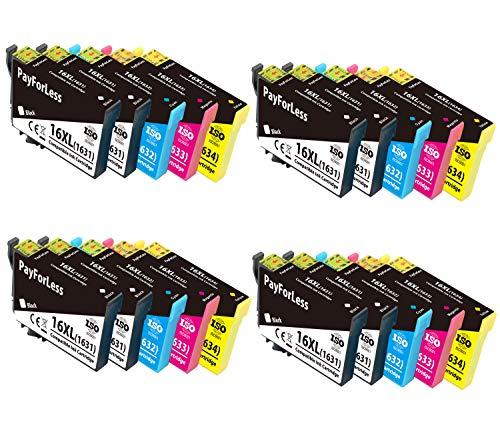 PayForLess 16XL Cartucce d'inchiostro Compatibili per Epson 16 XL 16 per Epson Workforce WF-2510 WF-2630 WF-2760 WF-2530 WF-2750 WF2660 WF2520 WF2650 WF-2540 WF2010 (8 Nero,4 Ciano,4 Magenta,4 Giallo)