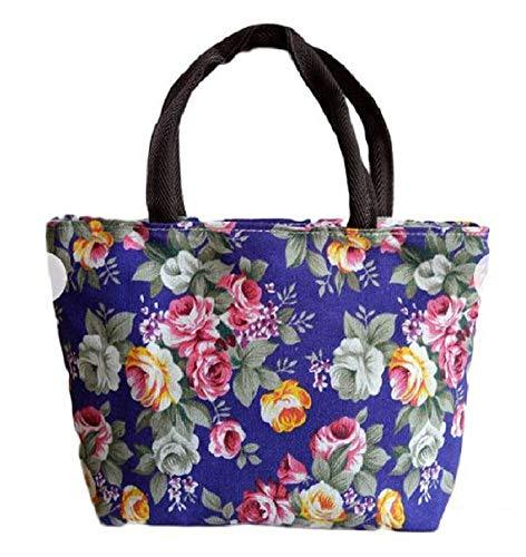 Bolso de mano - tela - flores - rosas - mujer - cierre de cremallera - vintage - retro - romántico - idea de regalo - color morado