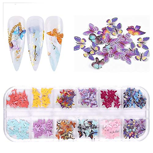 Beyonday 3D Fall Nail Art Decorations, Christmas Halloween Nail Stickers, Emulation Butterfly Flowers Holographic Nail Stickers (05)