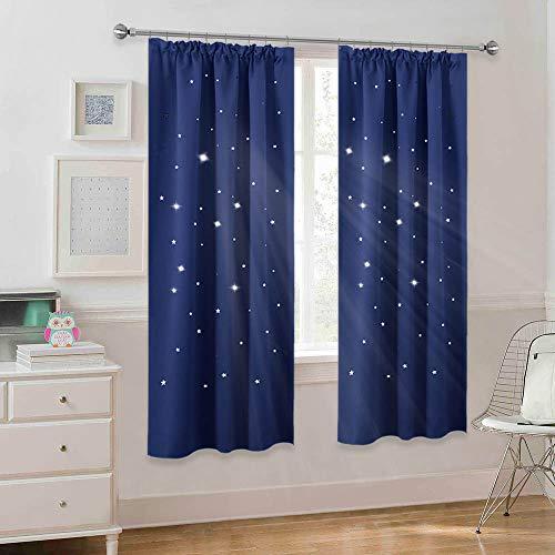 PONY DANCE Kinderzimmer Vorhang Blickdicht Blau - 2 Stücke H 175 x B 140 cm Sterne Gardinen Blickdicht Kräuselband Hohle Sterne Vorhänge für Schlafzimmer Dekoschals