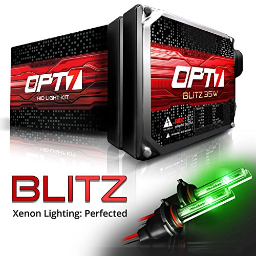 OPT7 Blitz 35w H1 HID Kit - 3.5X Brighter - 4X Longer Life - All Bulb Colors and Sizes - 2 Yr Warranty [Monster Green Xenon Light]