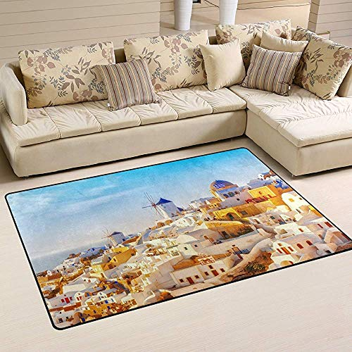 SESILY Natürliches griechisches Oia-Dorf von Santorini-Insel-traditioneller weißer Architektur mit rutschfesten Boden-Matten-Fußmatten der Windmühlen-Skyline-Bereichs-Wolldecken-Auflage