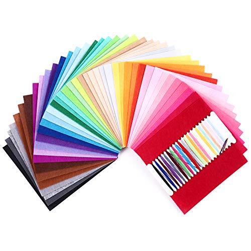 SOLEDI Fieltro Manualidades Tela no Tejido de Lana 41 Colores, Material para Costura y Artesanías de Bricolaje (15*15cm)