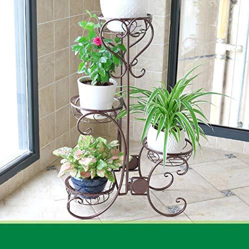 HLQW Estante para flores de hierro, estilo europeo marrón Estancia para balcón de varias plantas estilo europeo, piso tipo lounge verde Estante para botes de flores