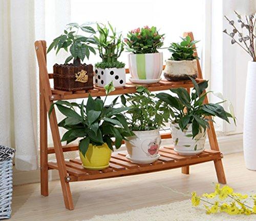 etagere plante Fleur Stand / 3 Tier Pliant Bois Stand Fleur Plante Pot Affichage Étagère Échelle Jardin Extérieur ( taille : 70*58*63cm )