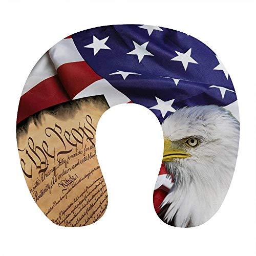 Traspirante confortevole bandiera americana patriottica USA aquila calva e libro collo cuscino morbido memory foam cuscino da viaggio a forma di U per aereo casa ufficio auto