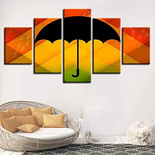 LIBIHUA Modulare Bilder Kunst Hd Druck 5 Stücke Schwarz Regenschirm Mit Farbe Hintergrund Rahmen Leinwand Gemälde Wohnzimmer Wand-Dekor 150x80cm Rahmen