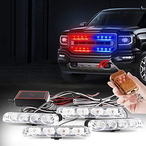 yifengshun 4x4LED 4 en 1 Control Remoto Inalámbrico DC12V Luz de Advertencia Estroboscópica Emergencia Camión Automóvil DRL Ambulancia Policía (2 Luces Rojo,2 Luces Azul)