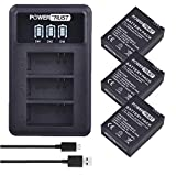 PowerTrust 3Pack AHDBT-301 AHDBT-302 Replacement Battery for Gopro HD Hero 3+ Hero3 Action Camera + LED 3-Slots USB Battery Charger with USB Cable
