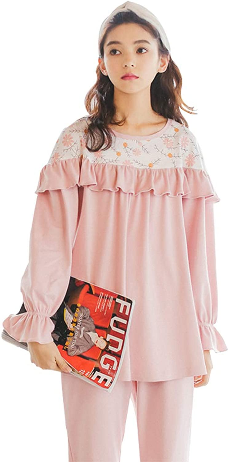 Sleepwear Young Ladies' Cotton Pajamas Pink lace LongSleeve Home Dressing Sweet Cute Nightgown Jagged Edges Nightwear Two Pieces Suit Pajama Sets (color   Light Pink, Size   XL)