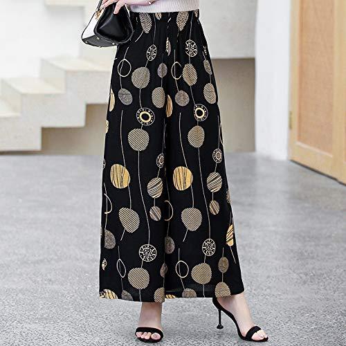 RIQWOUQT Pantalón De Pierna Ancha Mujer Pantalón Palazzo Negro con Estampado De Bolas Amarillas.Pantalón Ancho De Mujer.Pantalones De Jogging Casuales De Gimnasio De Algodón De Cintura Alta S