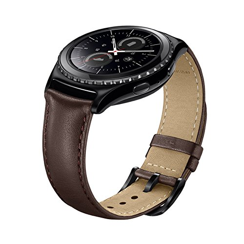 NEAWO Armband kompatibel mit Gear S2 Classic, Gear Sport, Galaxy Watch Active2, Galaxy 42mm Smart Watch, 20mm Echt Lederband Ersatzarmband(20mm, Leder Braun)