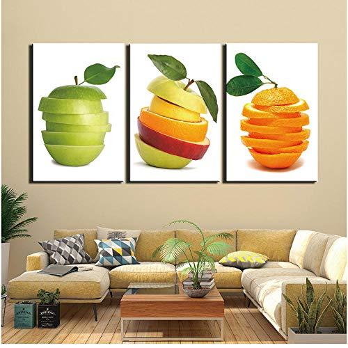 AMDPH 3 Piezas Lienzo Impresión Fruta Pared Arte Cuadros Sala Moderna Pintura Decorativa Tríptico Hogar Sofá Fondo Decoración Restaurante Cartel Mural