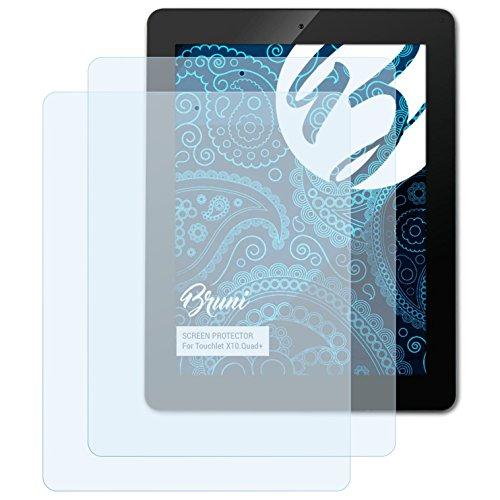 Bruni Schutzfolie kompatibel mit Touchlet X10.Quad+ Folie, glasklare Displayschutzfolie (2X)