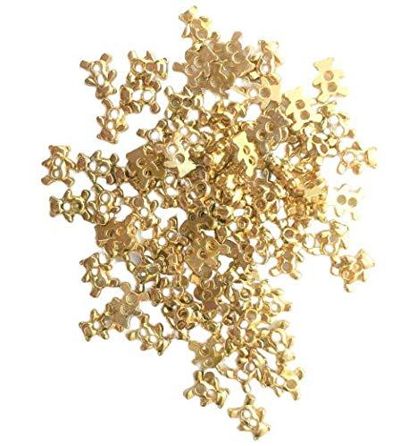 金色 くまボタン 80個 約6mm×5mm 極小 小さめ ハンドメイド材料 デコ材料 ドール用 人形用