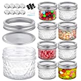 Foruisin 4 OZ (8-Set) Regular Mouth Mini Mason Jars with Lids and Bands, Quilted Crystal Style Glass Canning Jars, Ideal for Food Storage, Jam, Body Butters, Wedding Favors, DIY Magnetic Spice