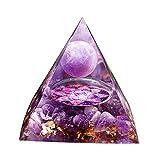 F Fityle Esfera de Amatista Pirámide de Cristal Orgonita Pyramid de Energía Fengshui Orgone Aura Resina Decoración del Hogar, Púrpura