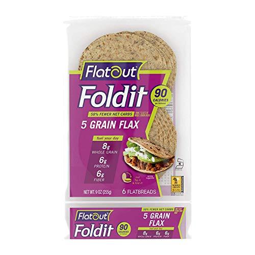 Flatout Fold It Artisan Flatbread, 5 Grain Flax, 8.5 oz - 2 Pack