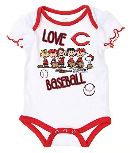 Outerstuff MLB Cincinnati Reds Baby Girls Infants Peanuts Love Baseball Creeper, White (.