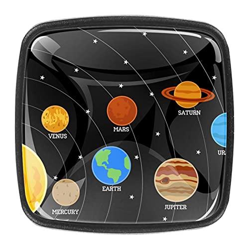 Sistema solar con forma de diamante para tiradores de cristal, con tornillos, para armarios de baño y armarios con tornillos, paquete de 4