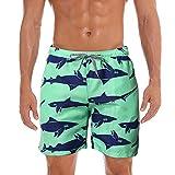 Dtuta Herren Sommer Freizeit Elastische Taille Boxershorts Hai Print Strand Meer Hawaii Urlaub Windsurfen Badehose Elastische TräGer FüNf Punkte Shorts