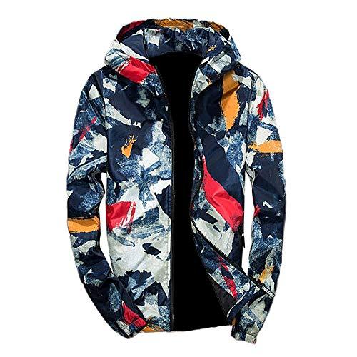 Xmiral Herren Jacke Outwear Winter Camouflage Print Pullover Langarm mit Kapuze Mantel (L,Blau)