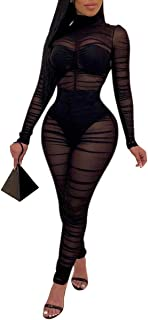Women One Piece Outfits Mesh Sheer Bodycon Jumpsuit Long...