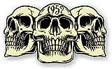 sticker licker Autocollant Vintage en Vinyle pour Voiture Motif 3 crânes Gothiques de l'année 1957 Café Racer Casque de Moto Motard Hotrod Style rétro 120 x 70 mm