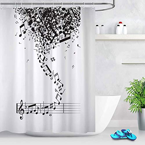 ECOTOB Music Shower Curtain Decor, Creative Black and White Design Musical Notes Shower Curtains 60X72 inches Polyester Fabric Bathroom Decorations Bath Curtains Hooks Included