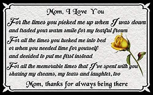 445 Eeypy Mom I Love You Rose - Placa de metal para decoración de pared, diseño de texto en inglés 'Mom I Love You Rose'