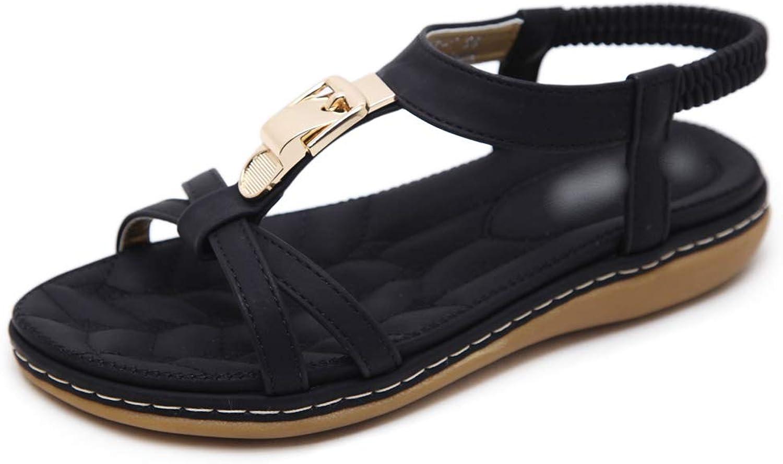 York Zhu Womens Beach Summer Flat Sandals Ankle Buckle Gladiator Strappy Thong Flip Flops