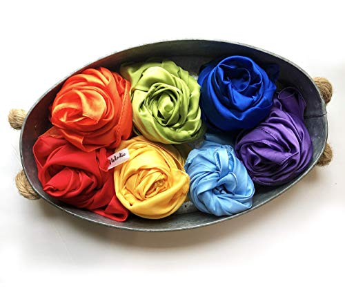 Melodie Naturals Rainbow Color Play Scarves- Vegan Playsilks - for Open-Ended Play, Creative Montessori and Waldorf Education (7 Pack - Solid Colors )