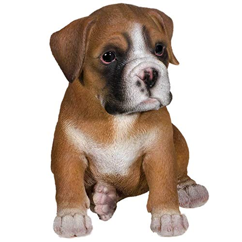 SIDCO Hundefigur Deko Figur Boxer Hundebaby Garten Welpe Skulptur lebensecht