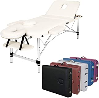3-Section Aluminum Frame 84 Inch Portable Massage Table with Carry Case, Face Cradle and Arm Rests, for Facial SPA Bed Tat...