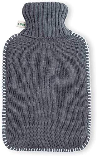 Borsa d acqua calda ecologica, 2 litri, con maglia bella di colore grigio e cuciture bianche, certificazione BS1970:2012, modello 2020