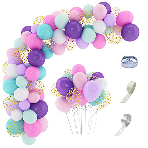 168Pcs Unicorn Balloons Arch Garland Kit 12''10''5'' Confetti White Light Purple Pink Aqua Blue Latex Balloons for Wedding Baby Shower Unicorn Birthday Party Supplies Decorations &3Pcs Balloon Tools