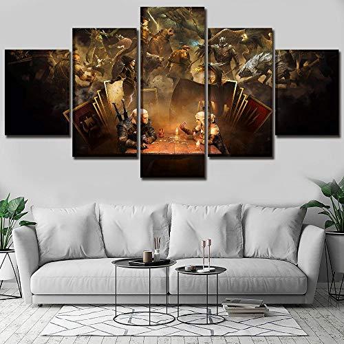 FHSFFS Leinwand HD-Druck Bild Dekoration Wohnzimmer Rahmen 5 Stück Gwent Kartenspiel Malerei Wandkunst modulare Poster