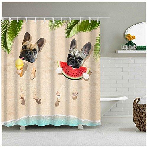 XZLWW Moderne Cartoon Design schöne Hunde mit EIS Wassermelone sind sonnenbrand im Sommer Bad duschvorhang für Bad zubehör 200x200 cm a
