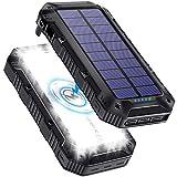 Cargador Solar Movil 26800mAh, [QI Carga Inalambrica] Bateria Externa Movil, [Linterna de 28 Luz Perlas] Powerbank con 3 Modos Iluminación, Cargador Portatil con 3 USB para iPhone Android Senderismo