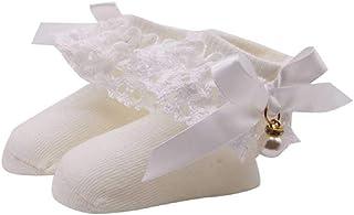 Primavera Verano Calcetines para Bebés Calcetines De Princesa De Encaje Recién Nacidos Calcetines De Algodón para Niños Beige