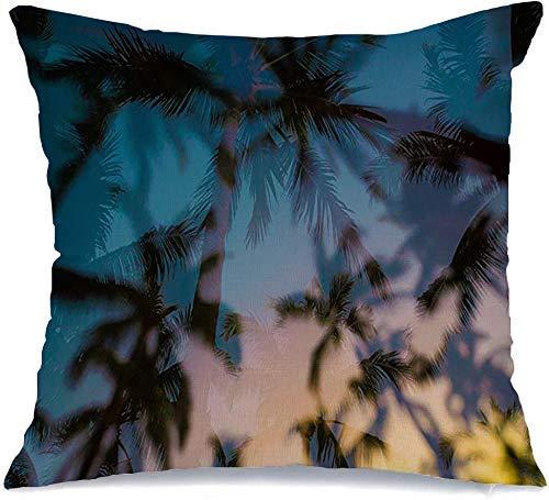 Funda de Cojine Throw CojínPuesta de sol tropical Exposición múltiple Palmera Árbol horizontal Árboles Parques Diseño exterior digital al aire libre Fundas para almohada 45X45CM