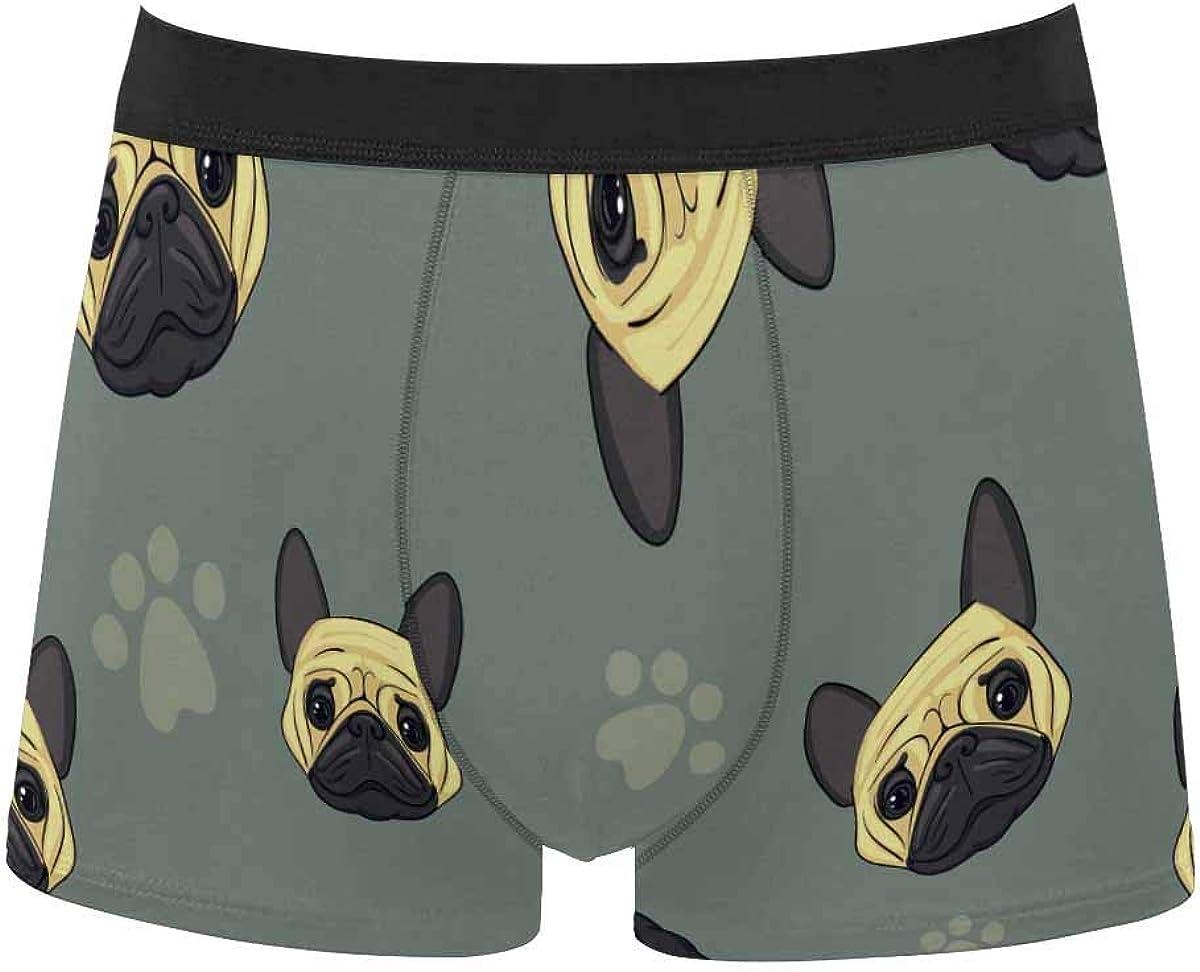 InterestPrint Men's Boxer Briefs Underwear Breathable Shorts Underpants Original Colors on Blue