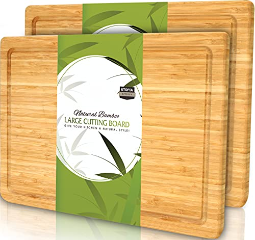 Utopia Kitchen (Pack of 2) Extra Large Bamboo Cutting Board with Juice Groove - Kitchen Chopping Board for Meat Cheese and Vegetables (17 x 12 Inch)