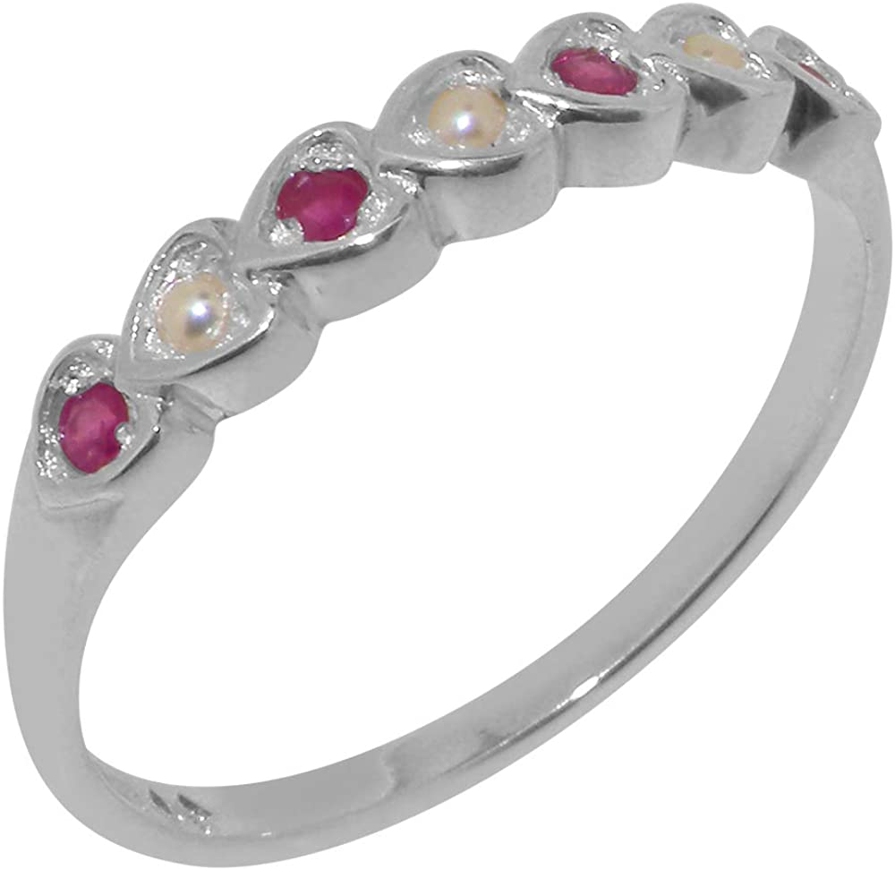 Solid 925 Max 58% OFF Sterling Silver Cultured Los Angeles Mall Ruby Pearl Eternity Womens